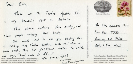 Australia Ellen DeGeneres postcard Twelve Apostles