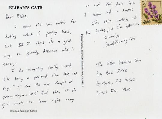 Ellen DeGeneres postcard cats