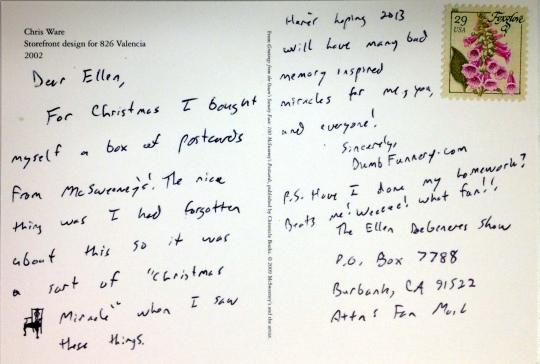 Ellen DeGeneres postcard