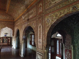 A room in our hotel which featured beautifully painted walls. The hotel was 175 years old and built as a residence for the rulers of Samode.