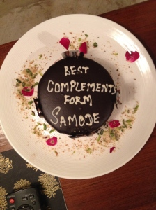 Often our hotels knew it was our honeymoon and would have a little cake waiting for us in our rooms which was awesome. The spelling errors were a secondary delight.
