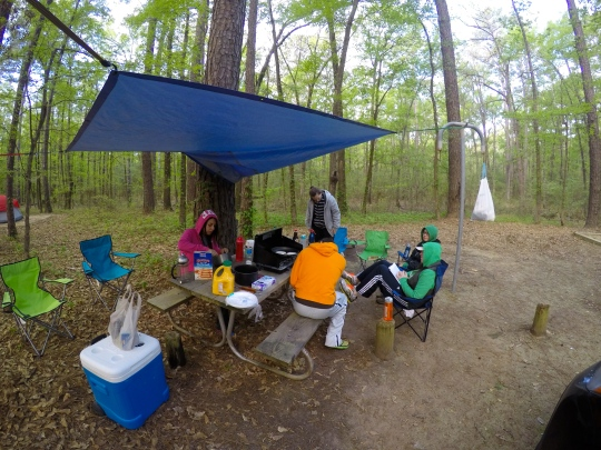 April - Camping with a group of friends at Caddo Lake State Park! (It was rainy, hence the sweet tarp setup.)