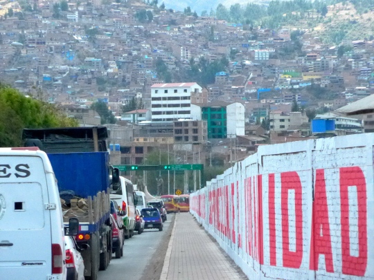 Driving in Cuzco (or Cusco).