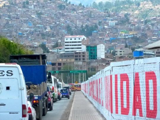 Driving in Cuzco (or Cusco).