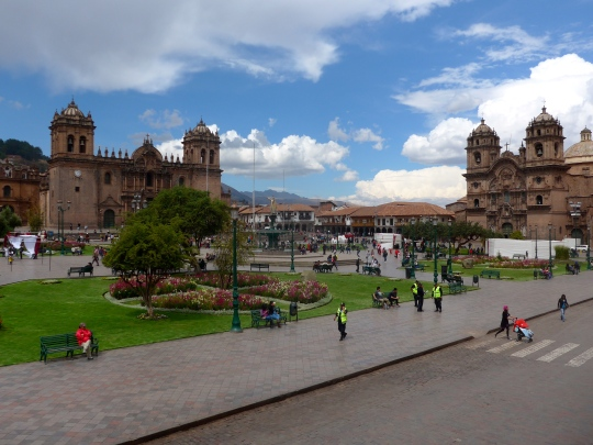 Main square in Cusco. (That's a big pretty Cathedral there.)
